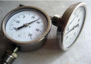 供應全不銹鋼耐震(充油式) 雙金屬溫度計WSSN