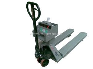 SCS 可以拉動的電子秤。小推車叉車秤,2T不銹鋼防水叉車秤